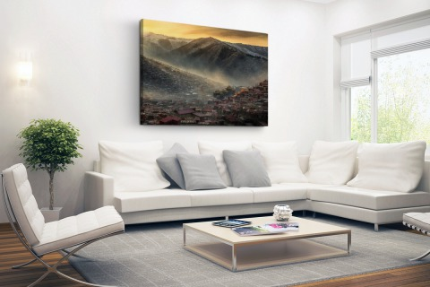 Oude Chinese stad in de bergen Canvas