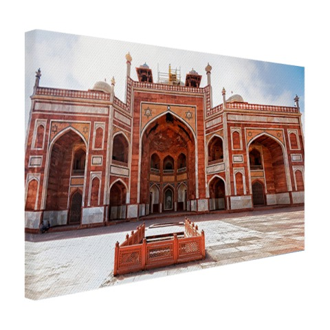 Foto architectuur Delhi op canvas geprint