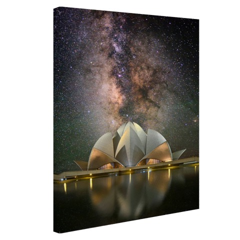 Foto Lotus Tempel in de nacht op canvas