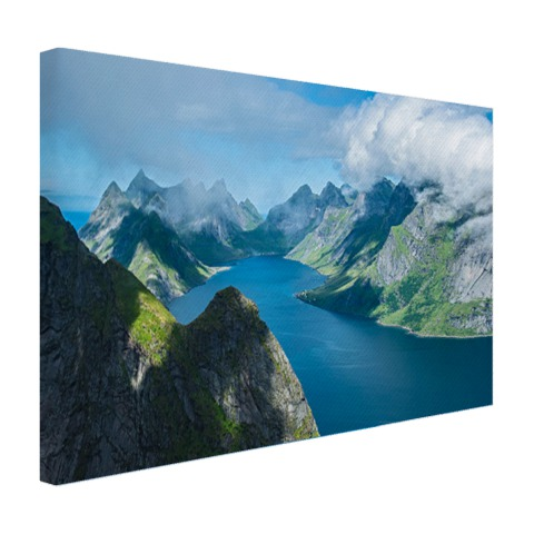 Canvas foto print uitzicht over fjorden in Noorwegen