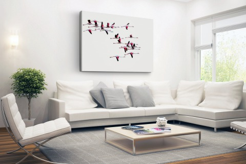 Vliegende flamingos Canvas