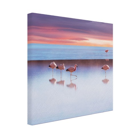 Flamingos bij zonsondergang Canvas