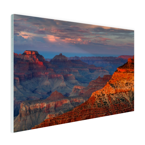 Glasplaat foto print Mather Point zonsondergang Grand Canyon