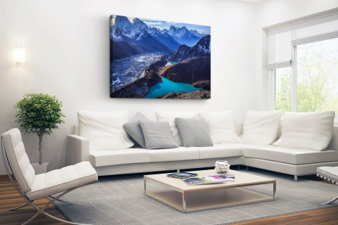 Himalaya landschap met water Canvas