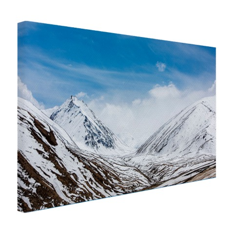 De toppen van de Himalaya in de winter op canvas