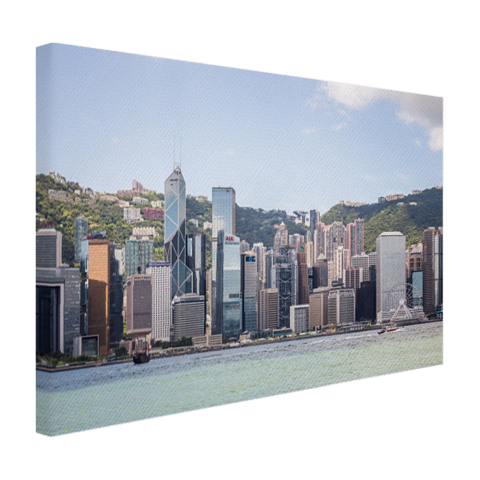 Skyline en bergen op canvas