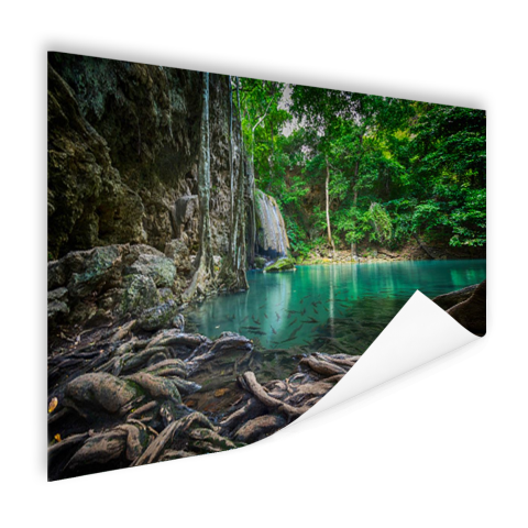 Erawan waterval in jungle Poster