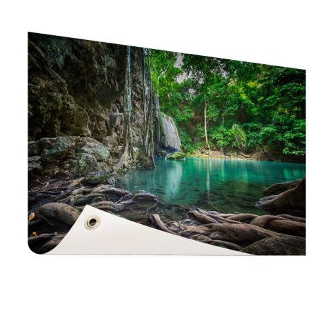 Erawan waterval in jungle Tuinposter