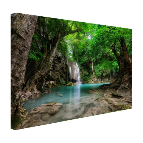Erawan waterval in jungle Thailand op canvas