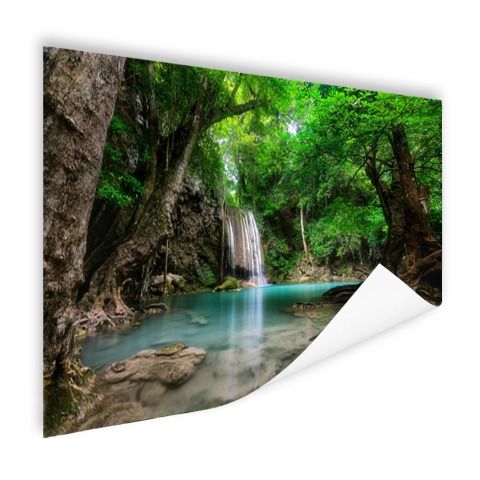 Erawan Waterval in jungle Thailand foto print
