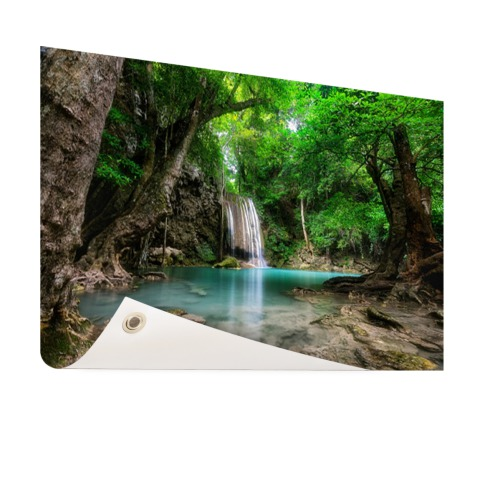Erawan Waterval in jungle Thailand tuindecoratie