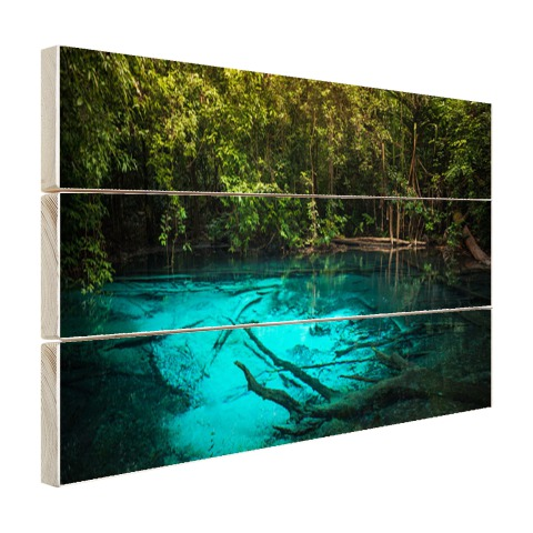 Helderblauw meer in de jungle muurdecoratie