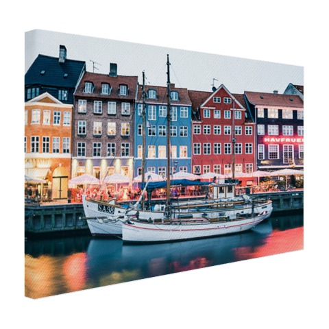 Het Kopenhagen by night op canvas