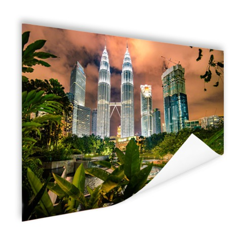 Petronas Towers by night op poster