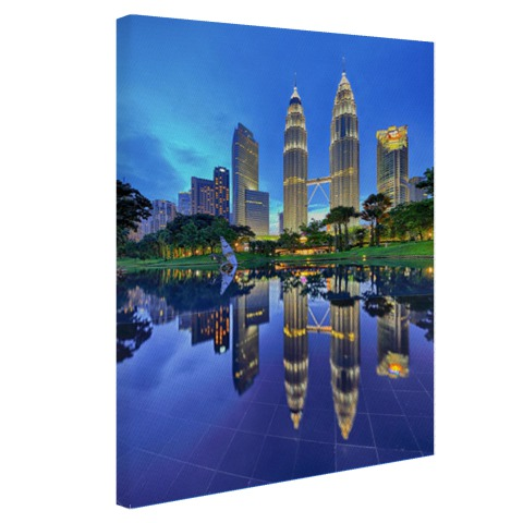 Blue hour Twin Towers KL op canvas