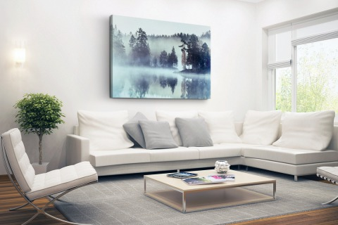 Mistig landschap fotoprint Canvas