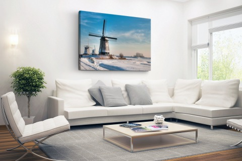 Nederlands winterlandschap Canvas