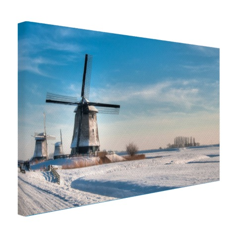 Foto Nederlands winterlandschap op canvas geprint