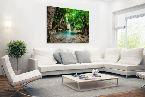 Erawan Waterval in jungle Thailand foto Aluminium