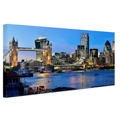 Foto skyline Londen met Tower bridge op canvas