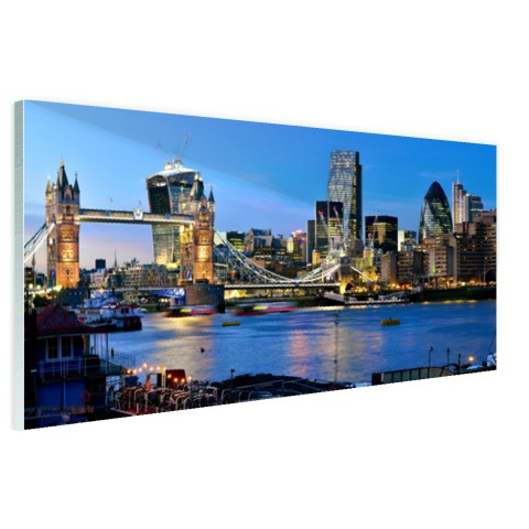 Glasplaat met foto tower bridge en skyline Londen