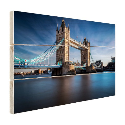 Houten planken met tower bridge Thames foto