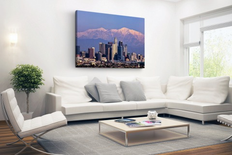 Los Angeles met bergen Canvas