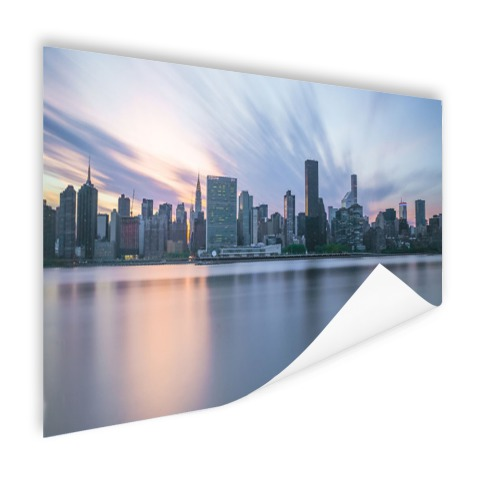 Manhattan New York skyline zonsondergang Poster