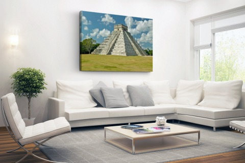 Maya Piramide van Kukulkan fotoprint Canvas