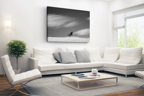 Lege Bank op de Horizon Canvas