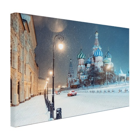 Foto afdruk winter in Moskou op canvas