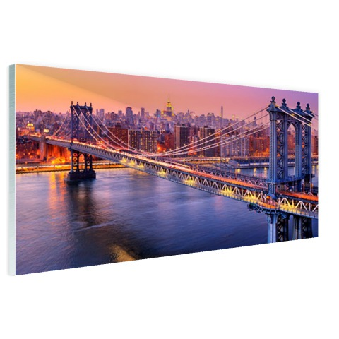 Foto Brooklyn Bridge NY op glas geprint
