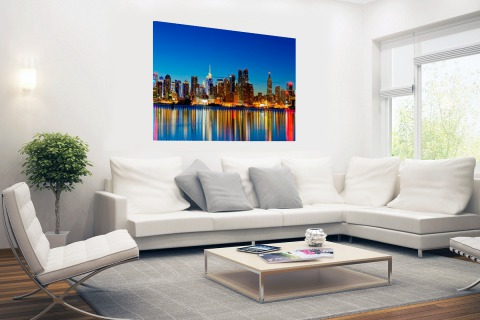 New York Skyline nacht Poster