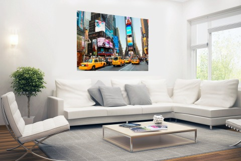 Times Square met gele taxis Poster