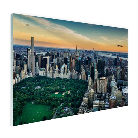 Luchtfoto Central Park NY op glas geprint