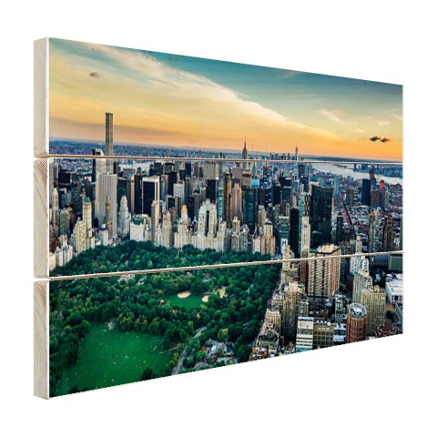 Luchtfoto Central Park NY op hout geprint
