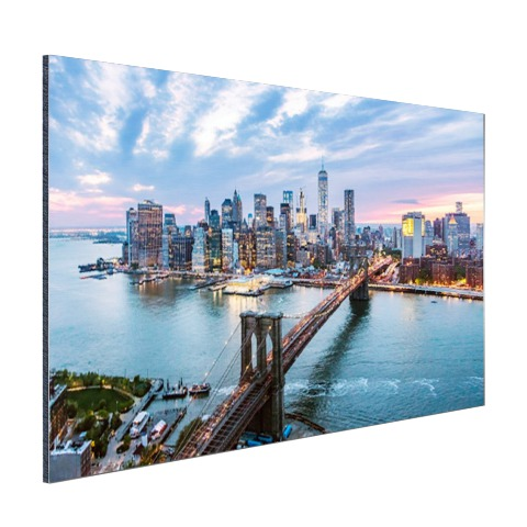 Luchtfoto Brooklyn Bridge NY op aluminium geprint