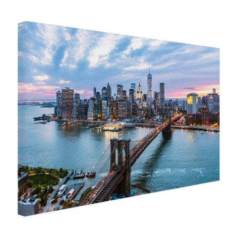 Luchtfoto Brooklyn Bridge NY op canvas geprint