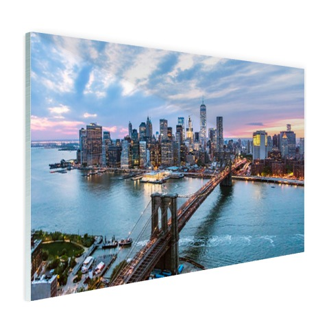 Luchtfoto Brooklyn Bridge NY op glas geprint