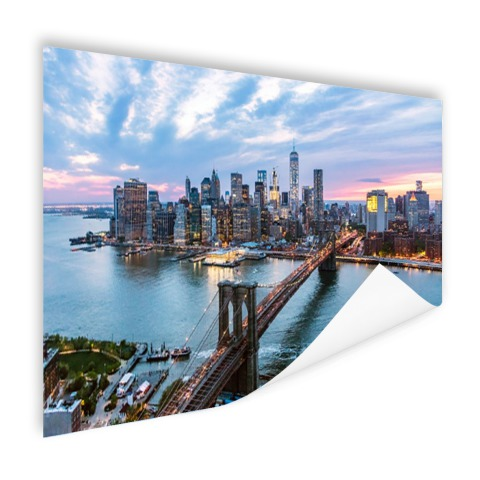 Luchtfoto Brooklyn Bridge NY op poster geprint
