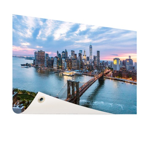 Luchtfoto Brooklyn Bridge NY op tuinposter geprint