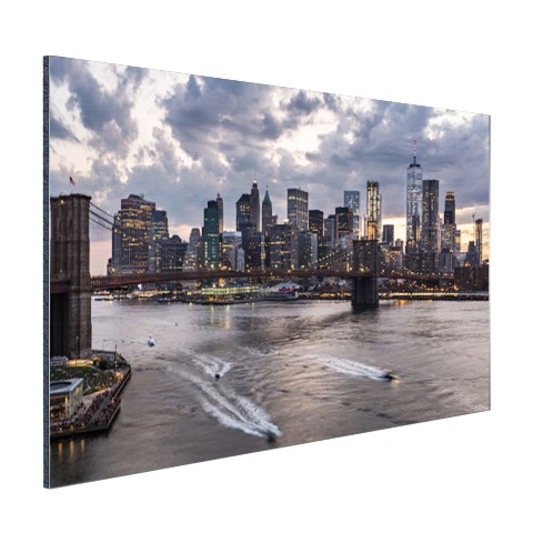Foto Manhattan en de Brooklyn Bridge NY op aluminium geprint