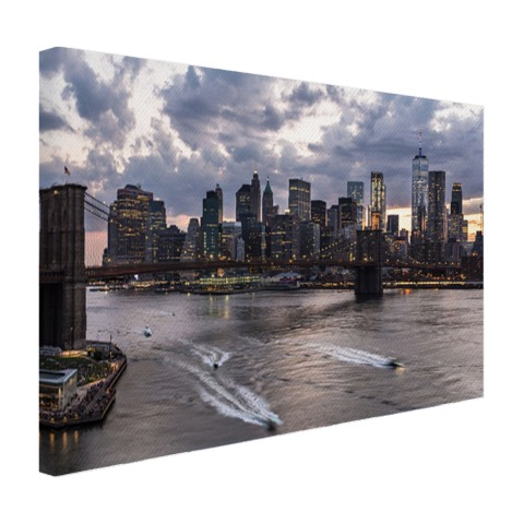 Foto Manhattan en de Brooklyn Bridge NY op canvas geprint