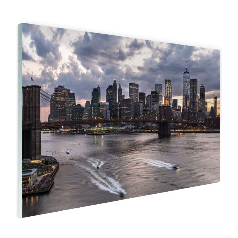 Foto Manhattan en de Brooklyn Bridge NY op glas geprint