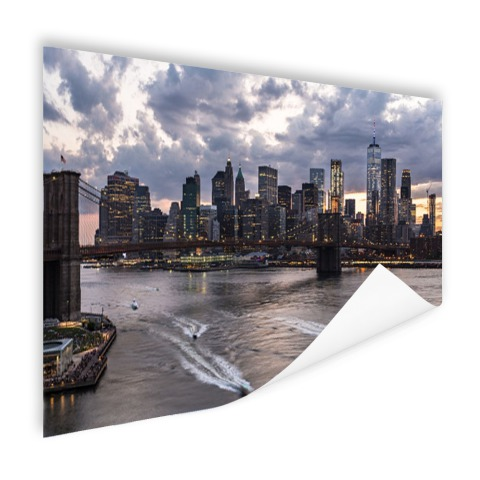 Foto Manhattan en de Brooklyn Bridge NY op poster geprint