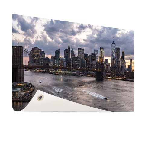 Foto Manhattan en de Brooklyn Bridge NY op tuinposter geprint