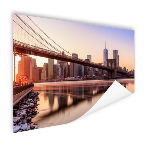 Manhattan vanuit Brooklyn bridge park Poster