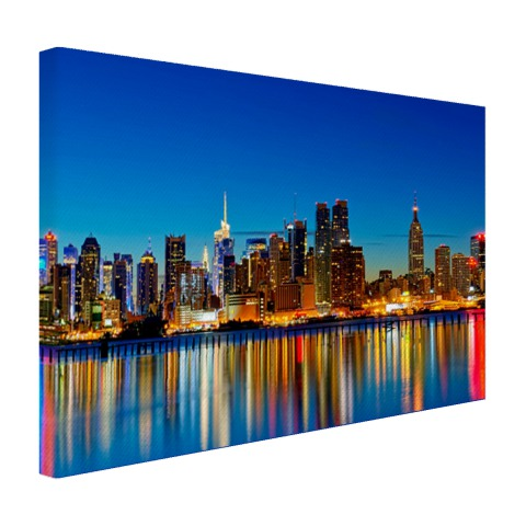 New York skyline bij nacht op canvas