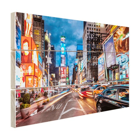 Foto Times Square NY op hout geprint