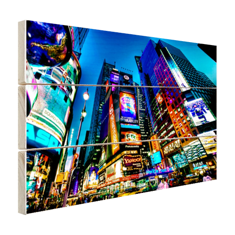 Times Square NYC in de avond Hout